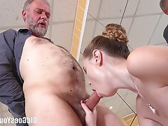 Cumshot, Old and Young, Redhead, Teen