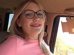 Blonde, Glasses, Car, Bus