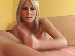 Blonde, Cumshot, Facial, Handjob, Small Tits